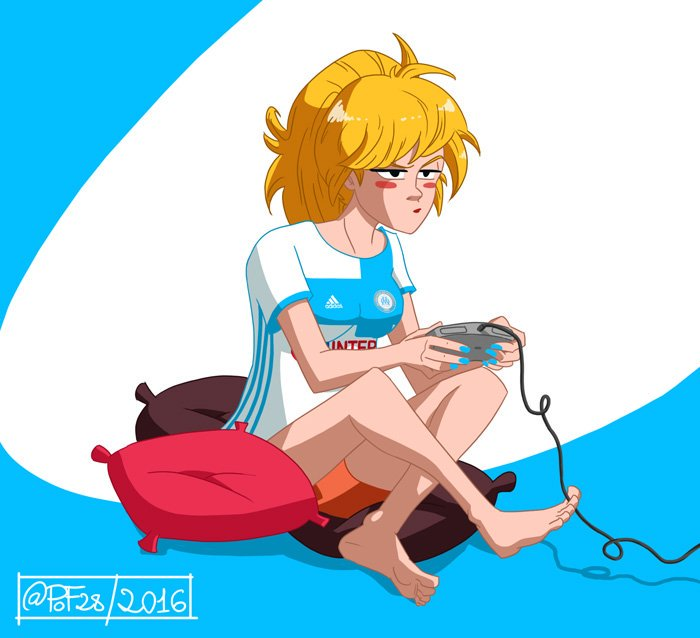 pin-up jouant à la console par PoF